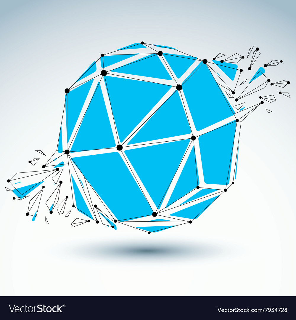 3d low poly spherical object with black connected