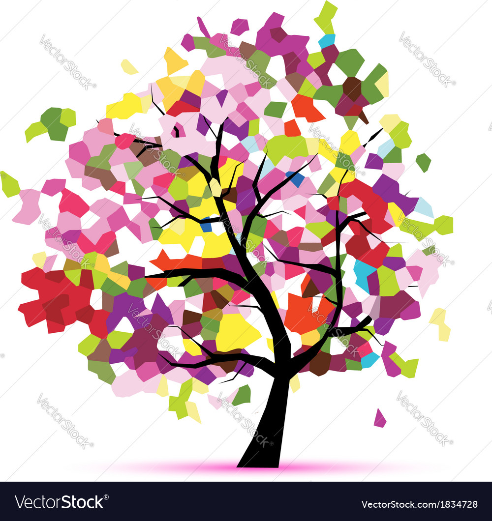 Abstract mosaic tree for your design