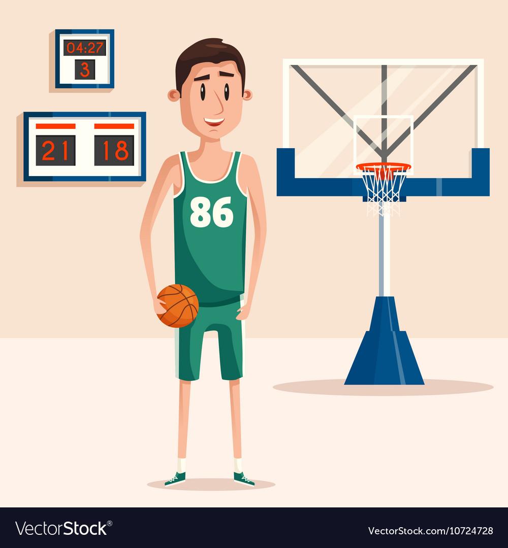 Basketball player holding ball near backboard vector image