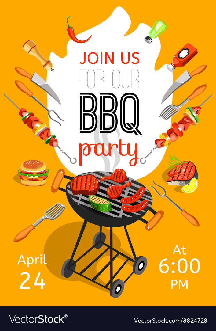 bbq party announcement flat poster royalty free vector image