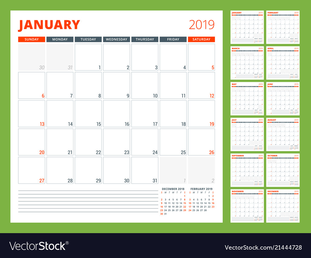 Calendar planner template for 2019 year week