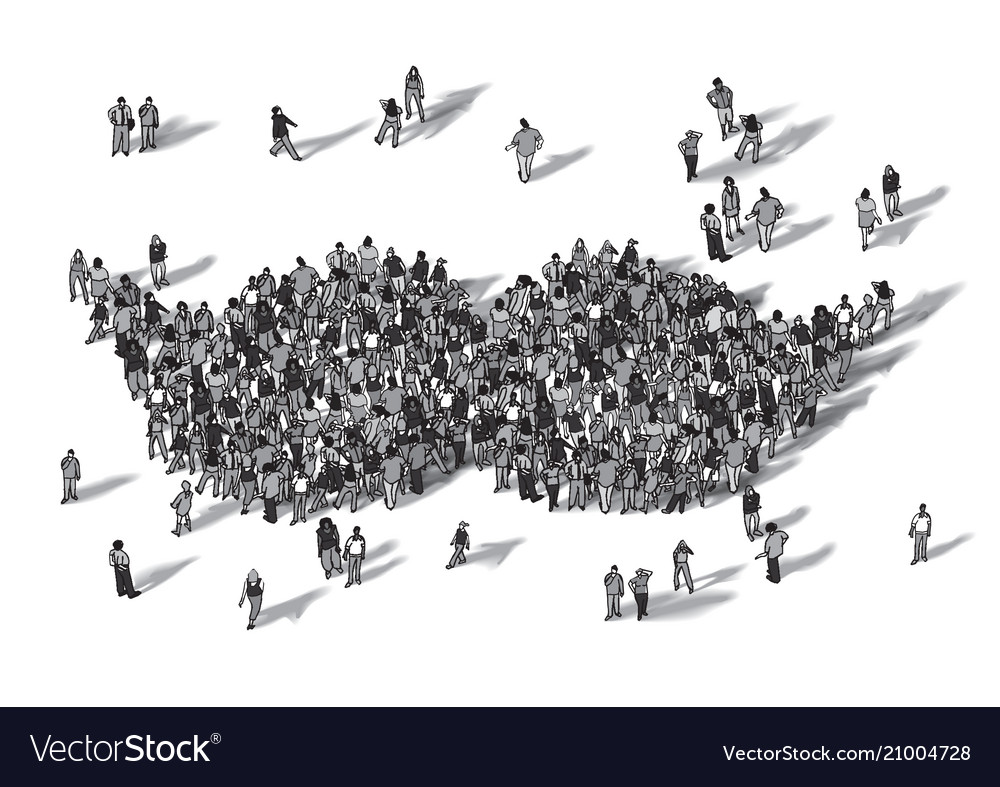 Crowd people moustache symbol black and white
