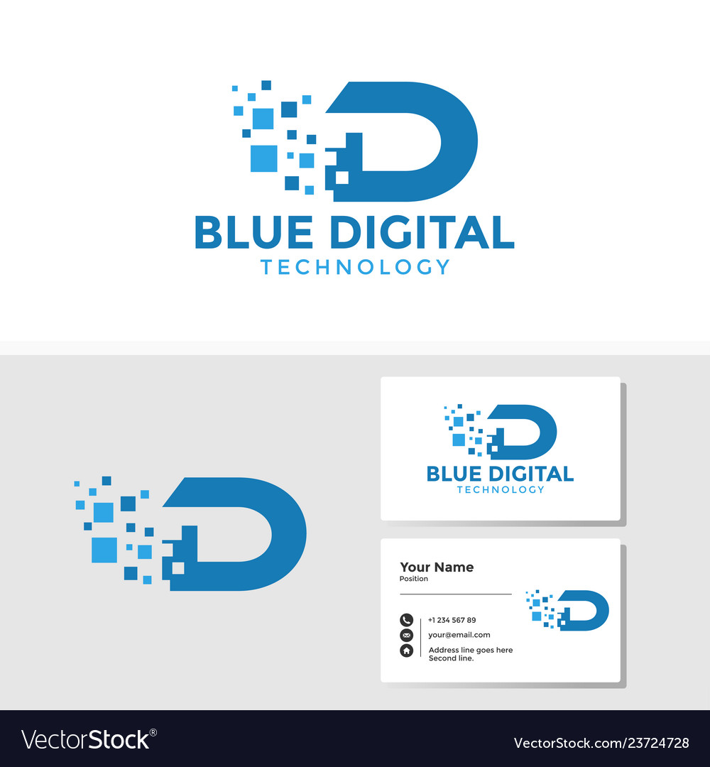 Digital letter d logo template with business card