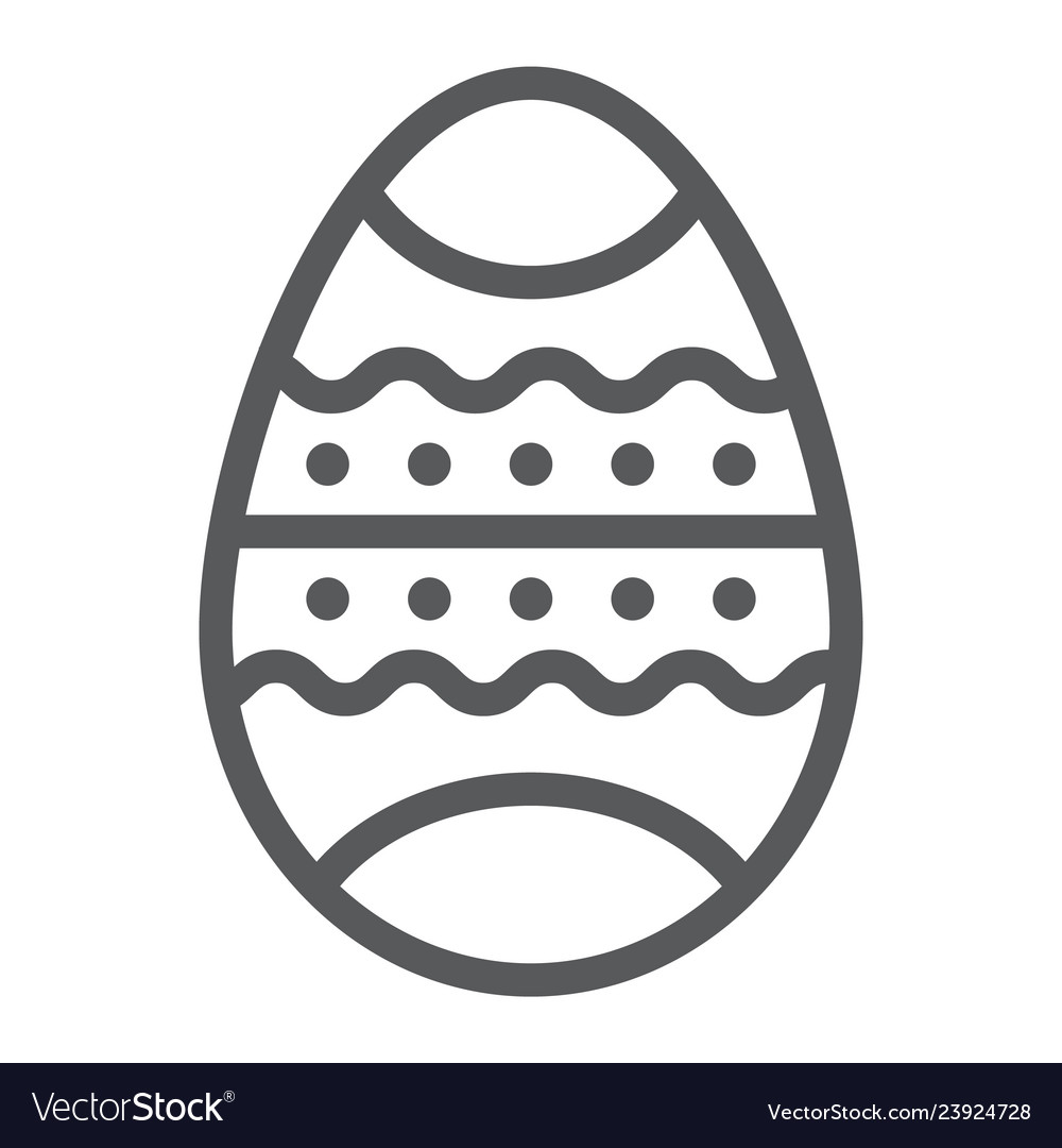 Easter egg line icon decor and easter painted