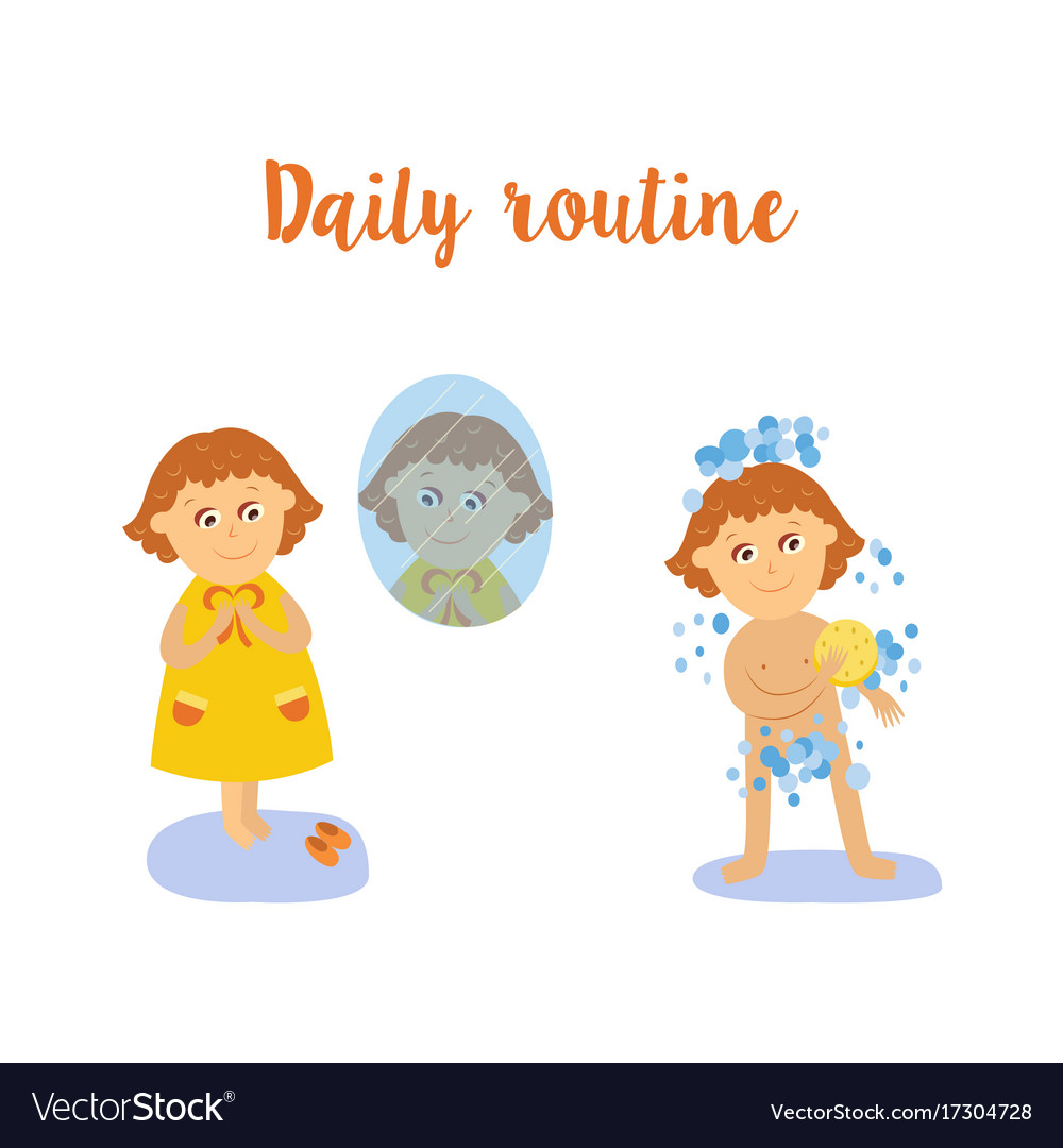 Flat cartoon kid doing routine activity set