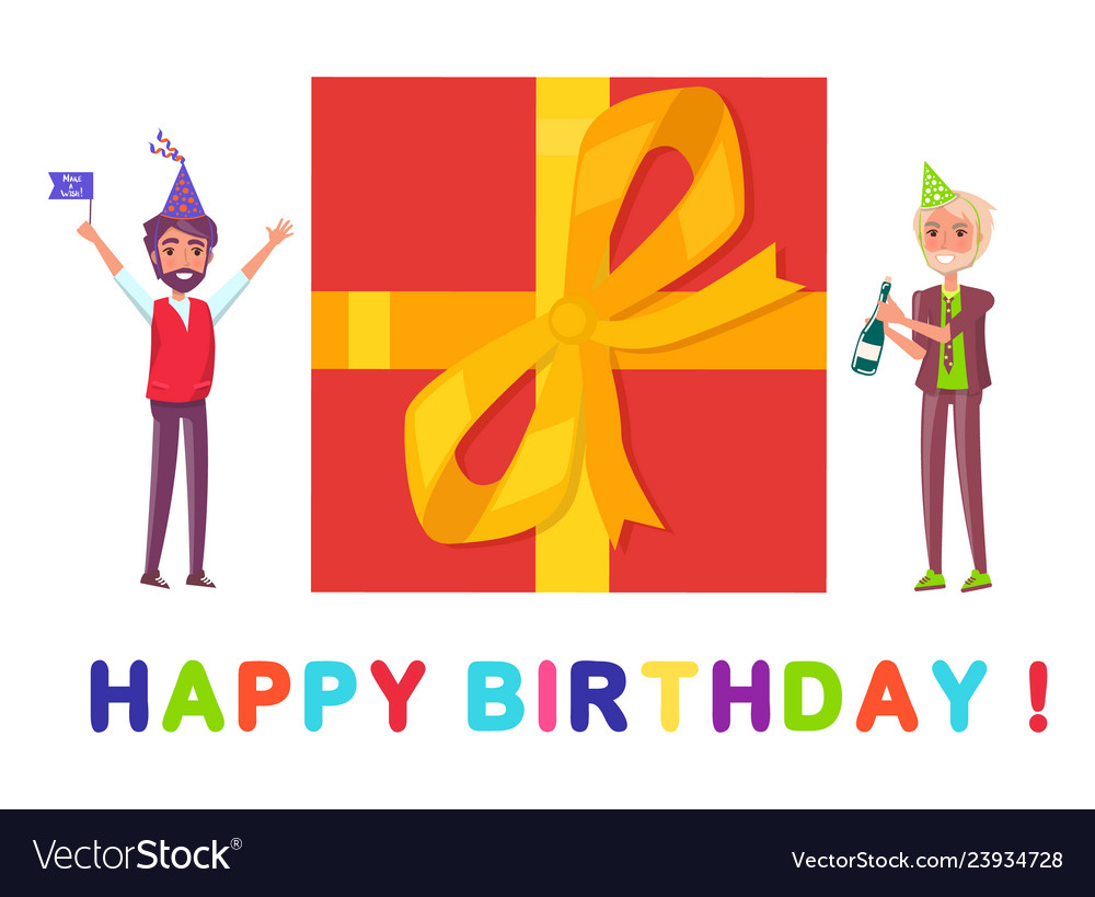 Happy Birthday Greeting Card Present Box And Men Vector Image