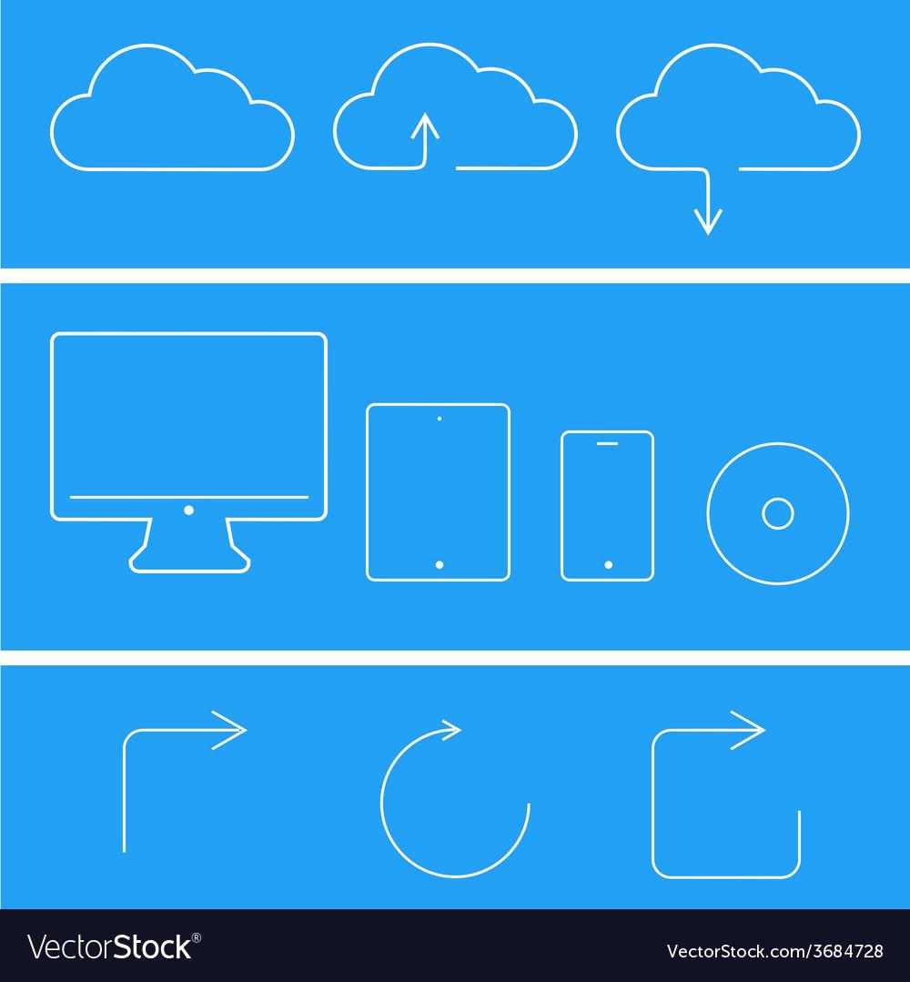 Modern flat technology icons set