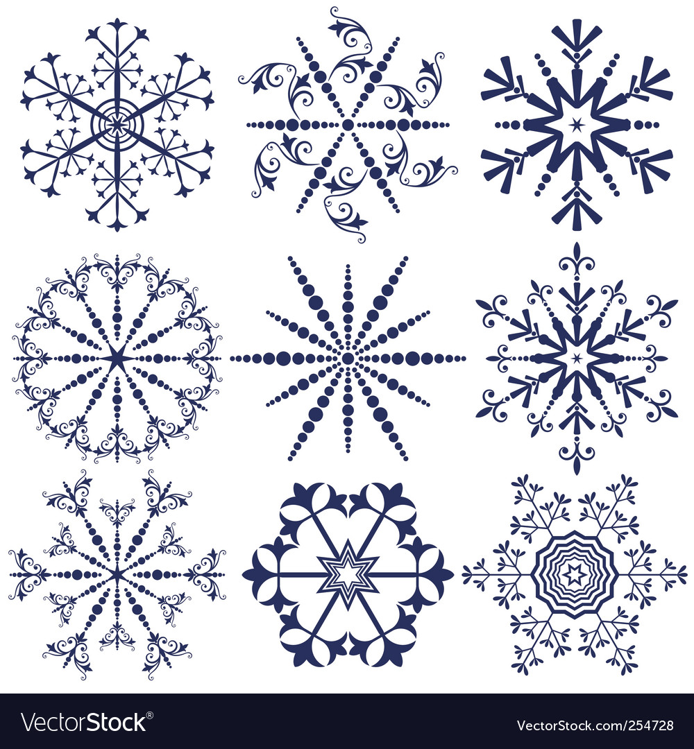 Set dark blue snowflakes vector image