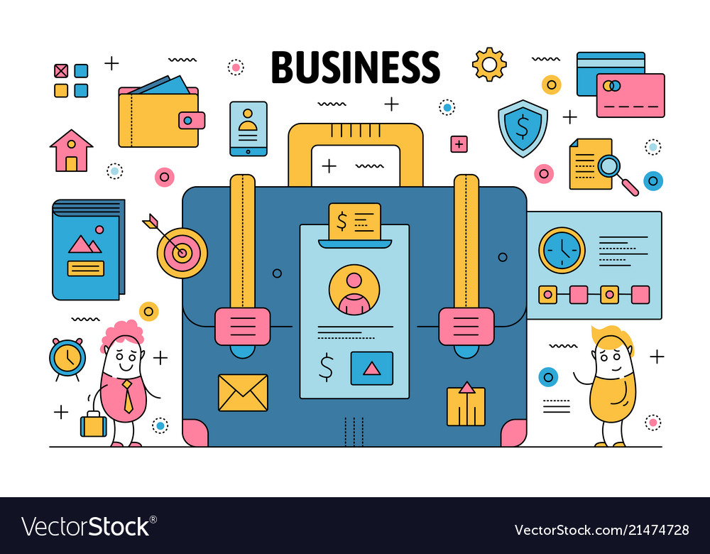 Thin line business poster banner template