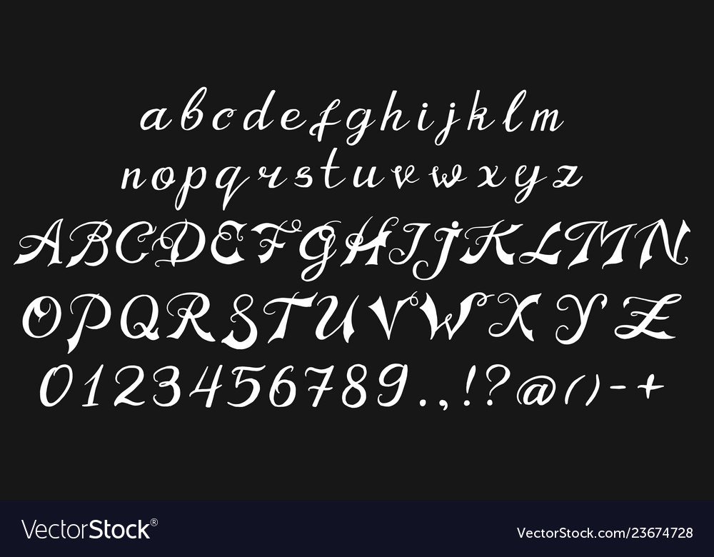 Vintage font handwritten alphabet sign painter