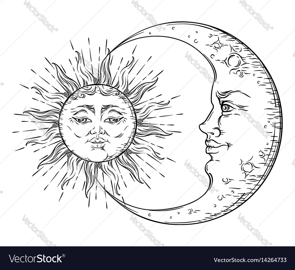 Antique hand drawn art sun and crescent moon vector image