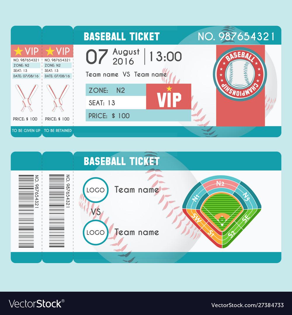 Baseball ticket modern design baseball ball bat