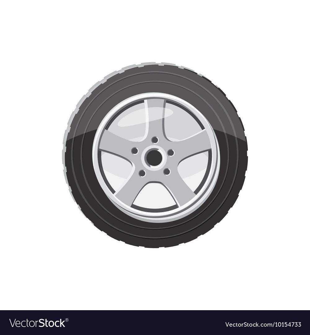 Car Wheel Icon In Cartoon Style Royalty Free Vector Image