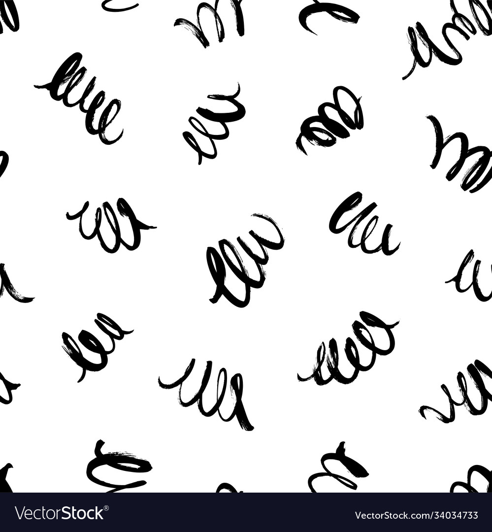 Curly waves hand drawn seamless pattern