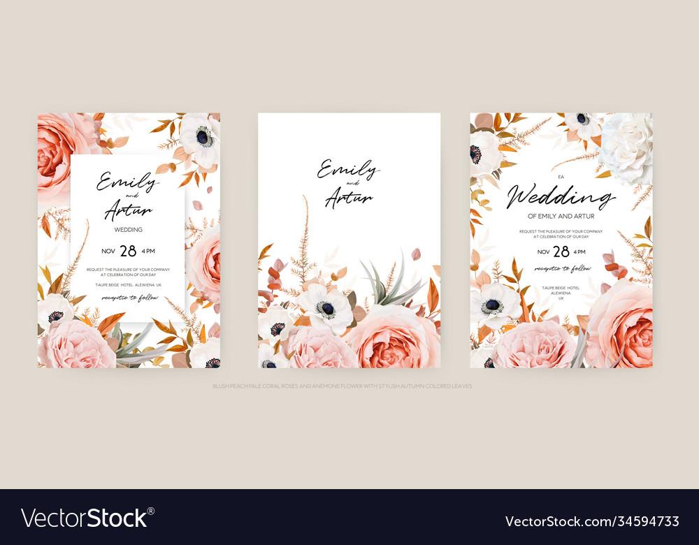 Floral autumn wedding invite card template set