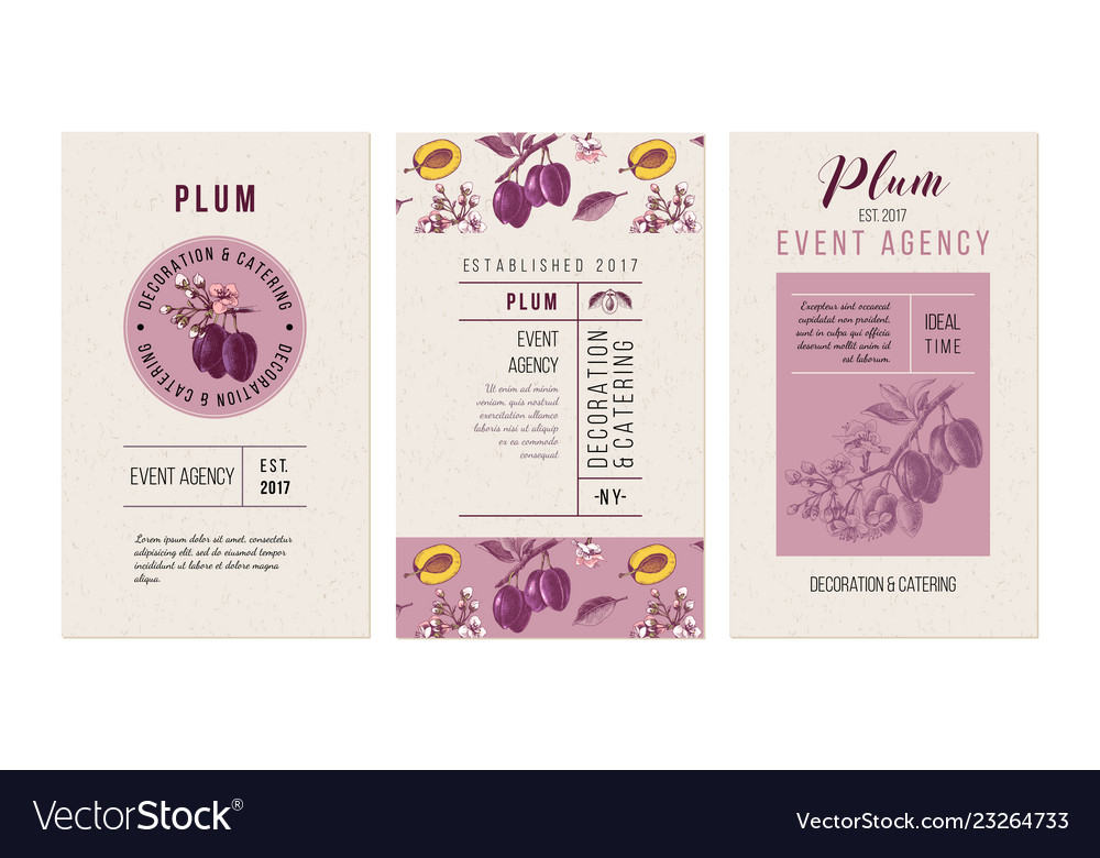 Plum event agency banners template with hand