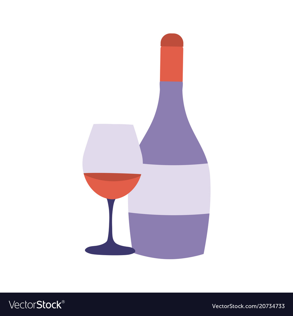Red wine bottle and glass icon
