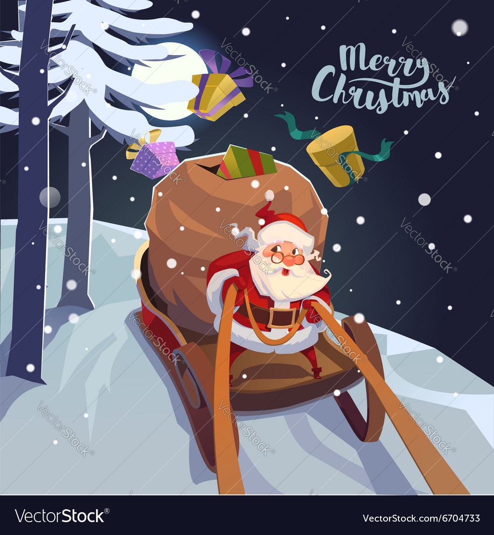 Santa claus in a sleigh with presents in a hurry