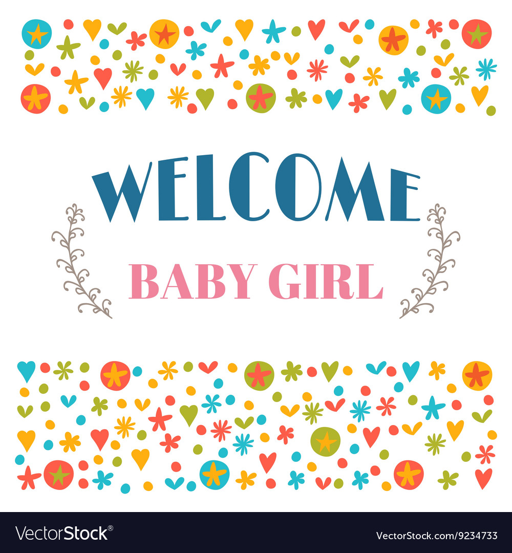 Welcome baby girl Baby shower greeting card Baby