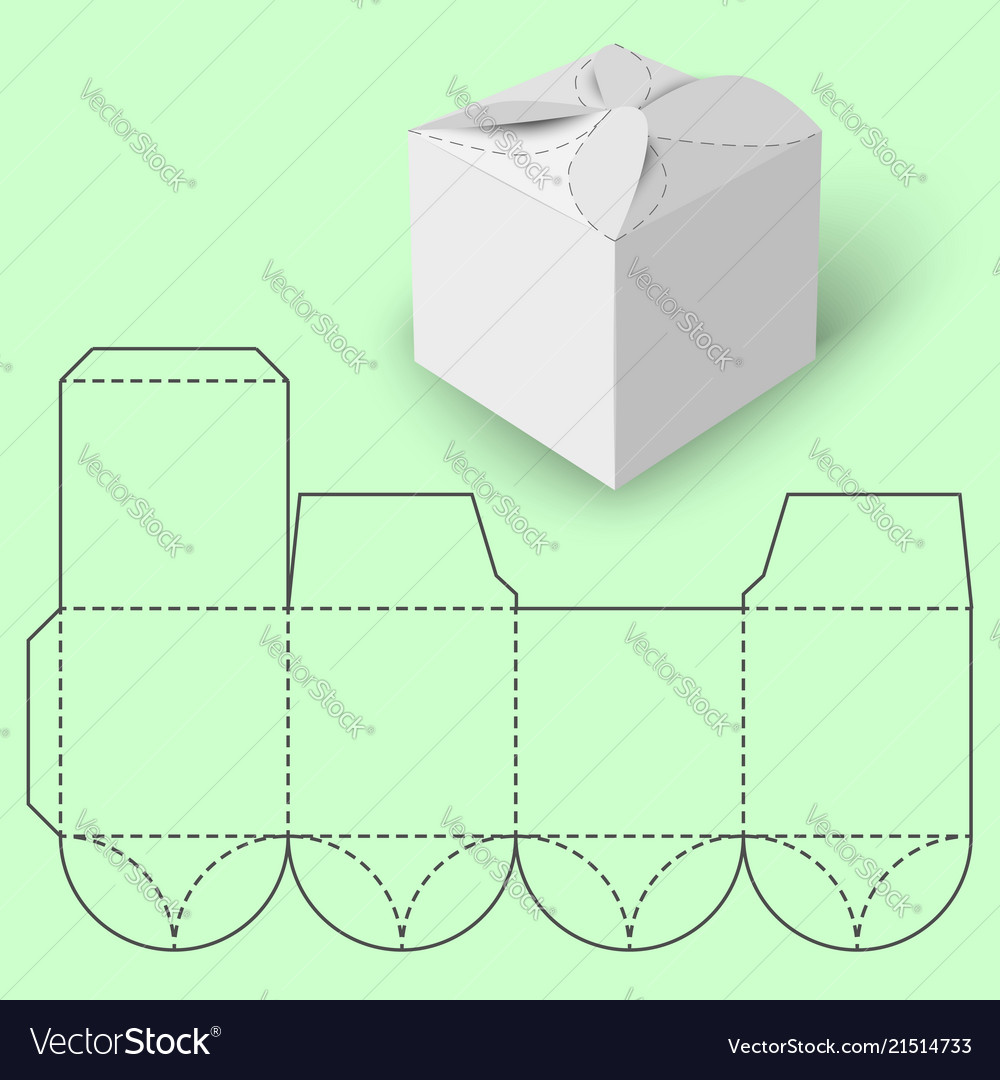 White Gift Box With Blueprint Template Vector Image