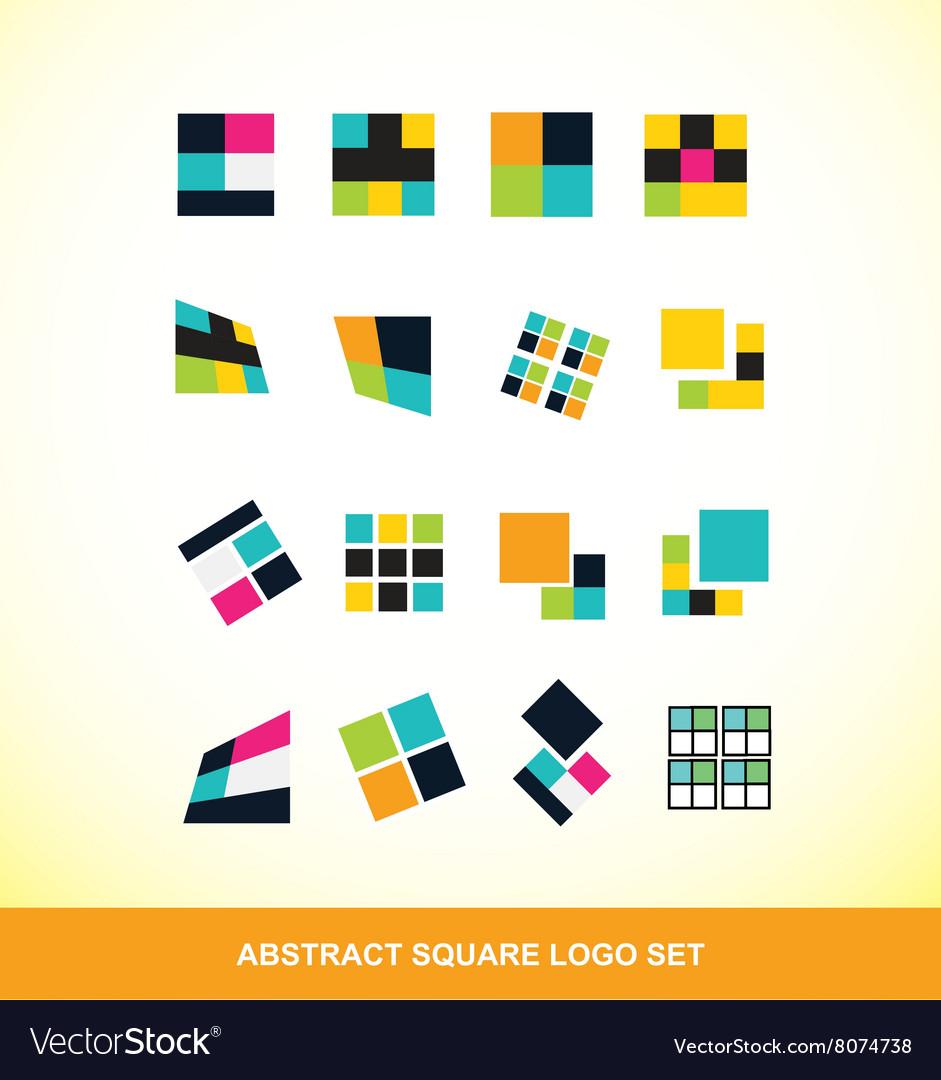 Abstract square logo icon set