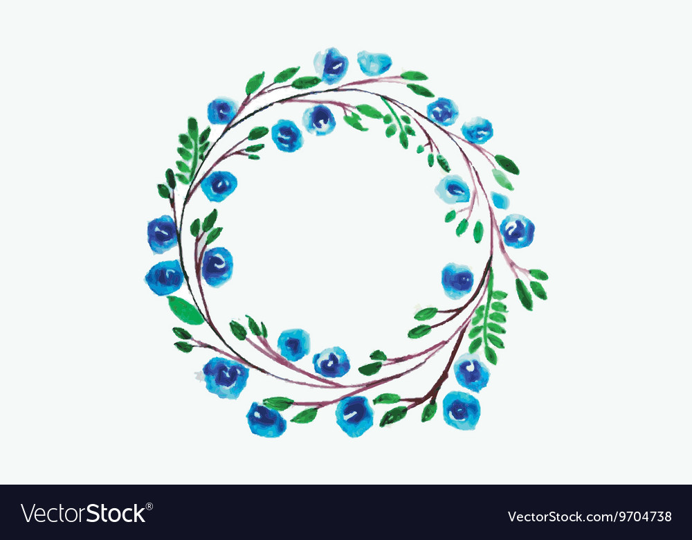 Blue Flower watercolor wreath for beautiful design