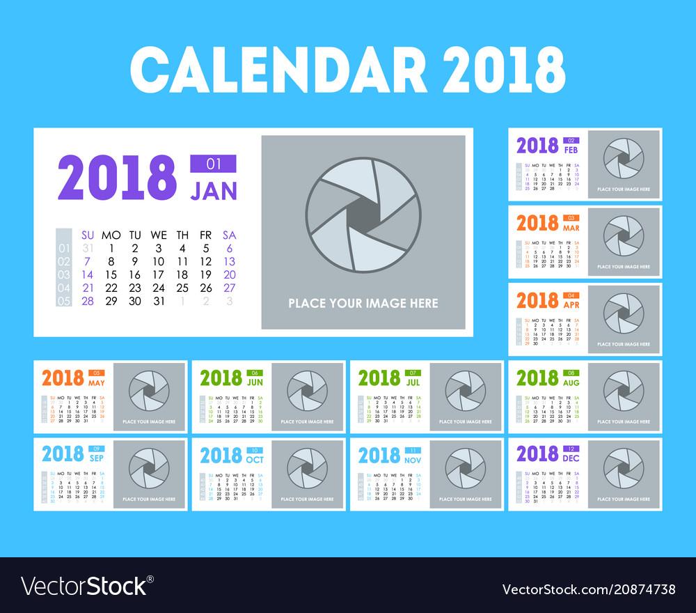 cartoon calendar event planner 2018 set royalty free vector