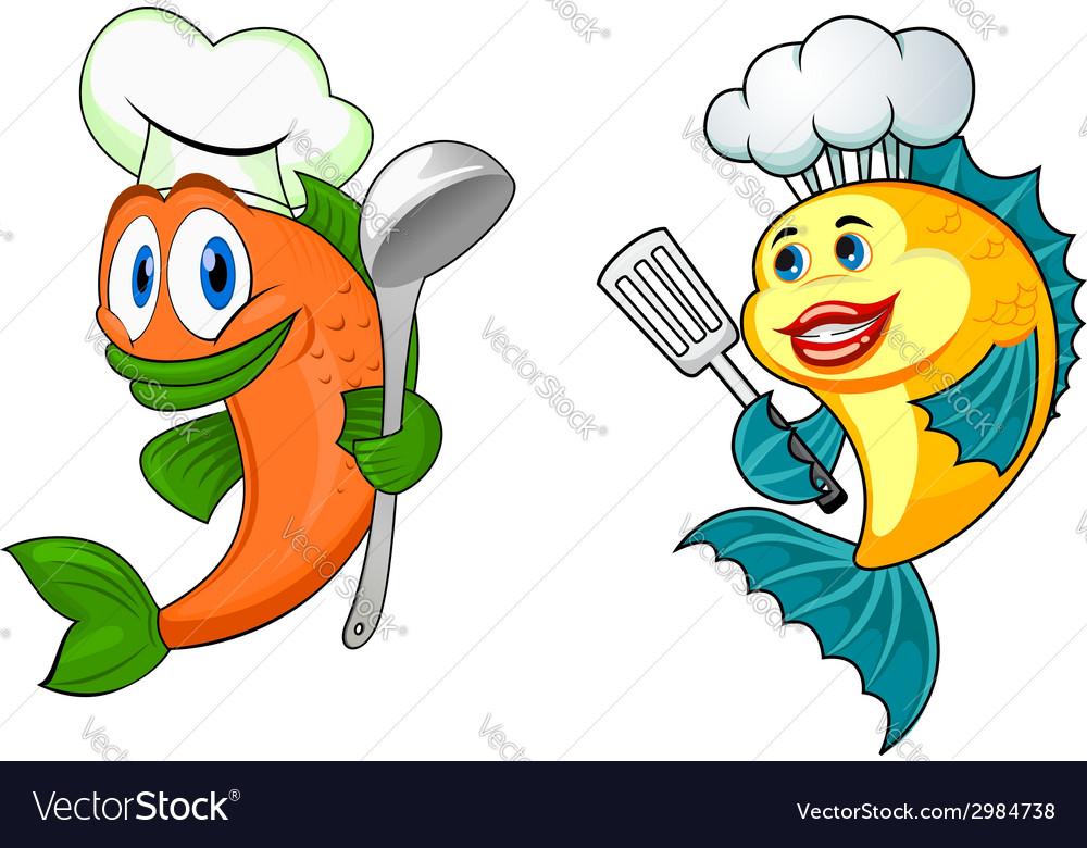 Cartoon chef fish characters