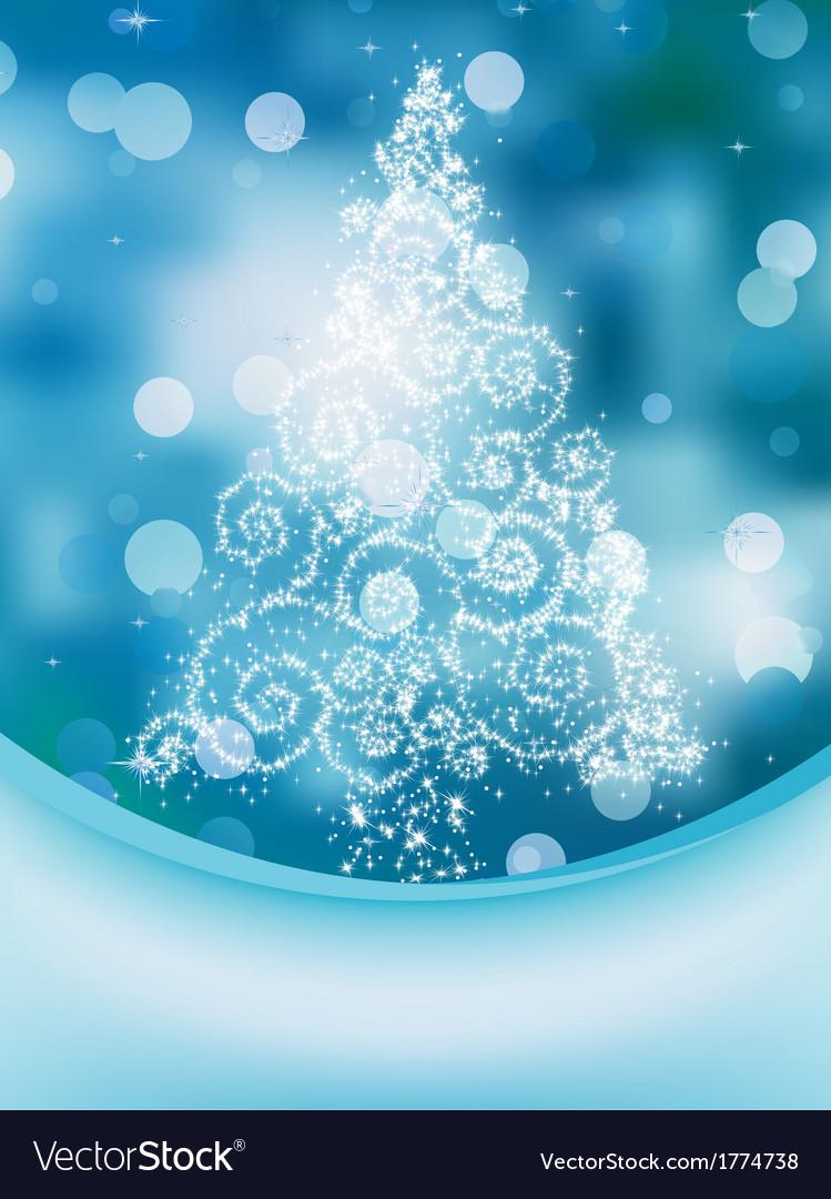 Christmas Tree on bokeh Greeting Card EPS 10