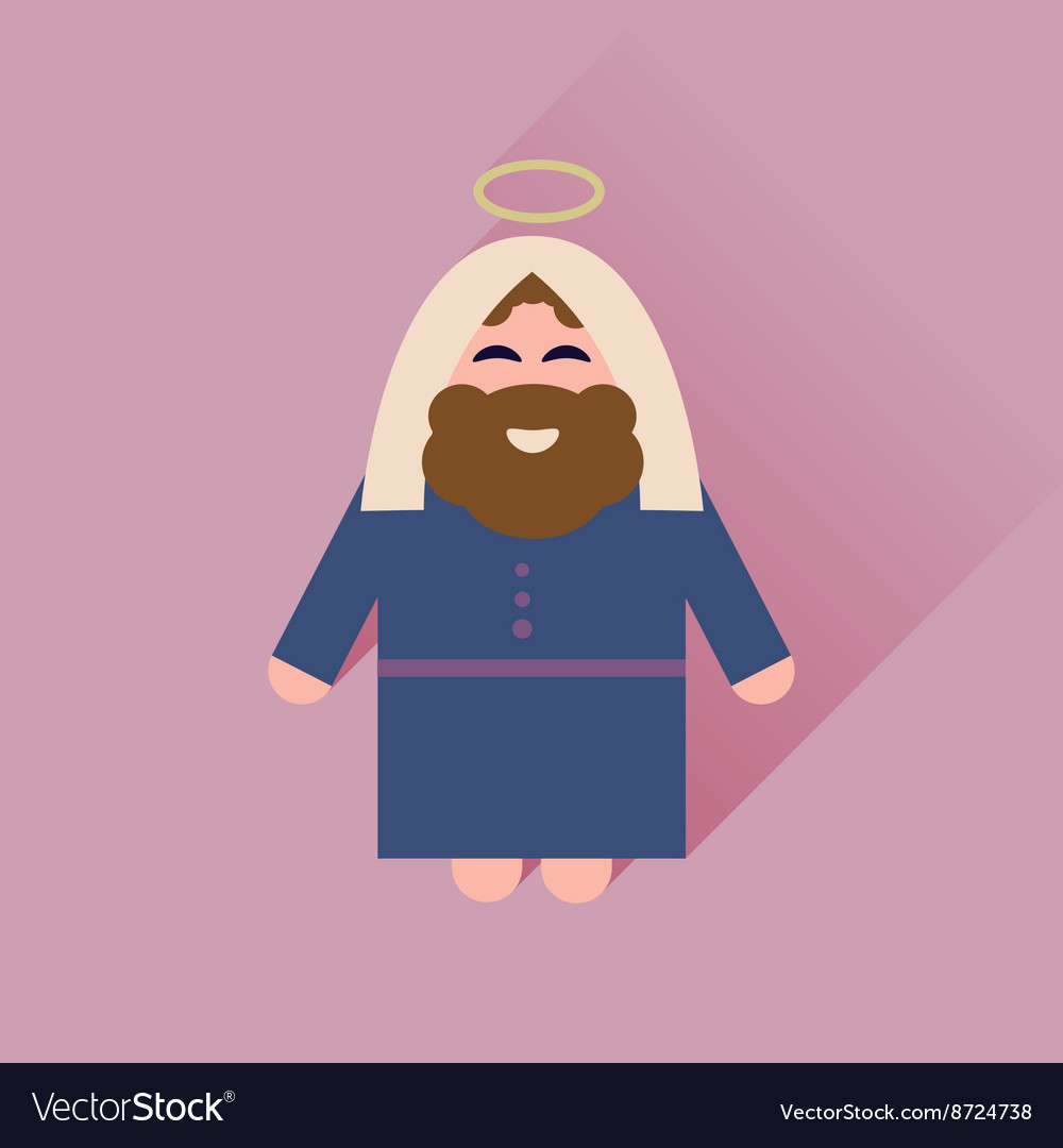 Flat icon with long shadow Father Jesus Christ Vector Image