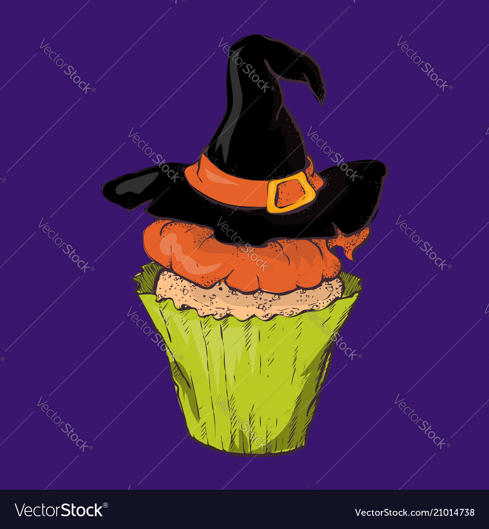 Halloween cake with a witch hat