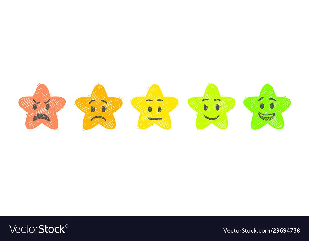 Hand drawn rate stars feedback emoticons stars