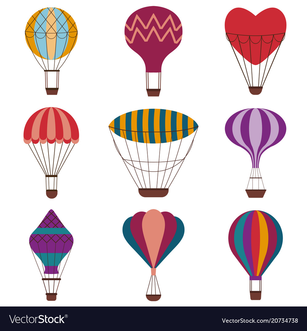 Hot air balloons colorful icon set