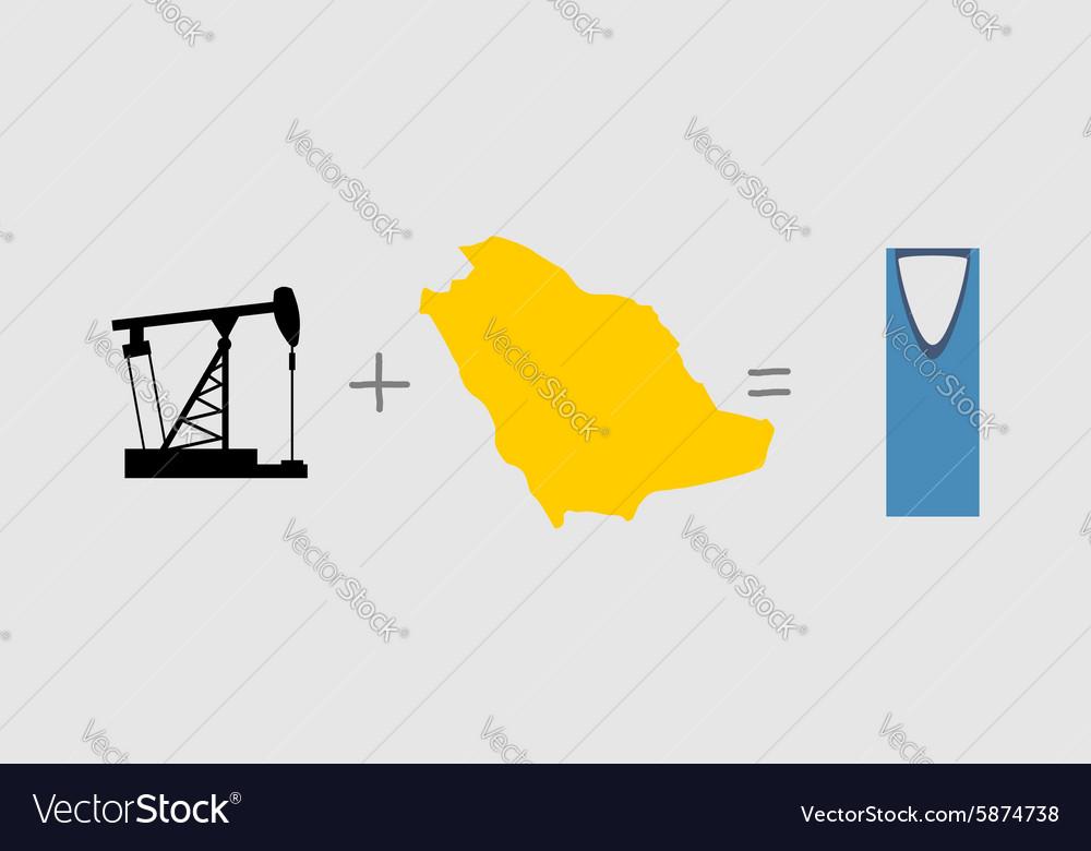 Oil Rig And Map Symbols Of Saudi Arabia Royalty Free Vector