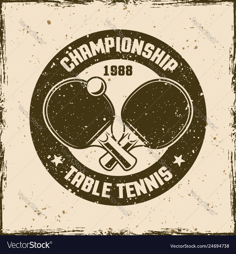Table tennis vintage round emblem