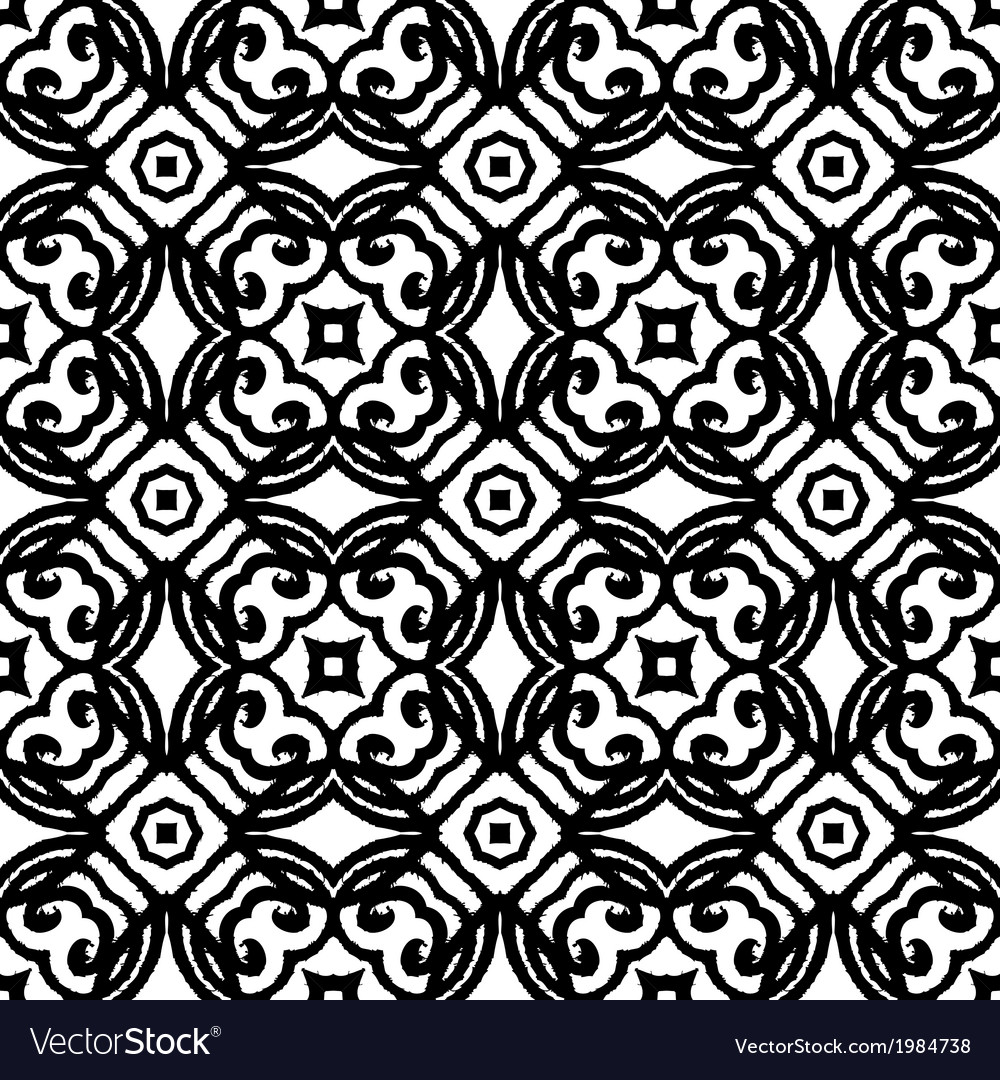 Vintage art deco pattern in black and white vector image