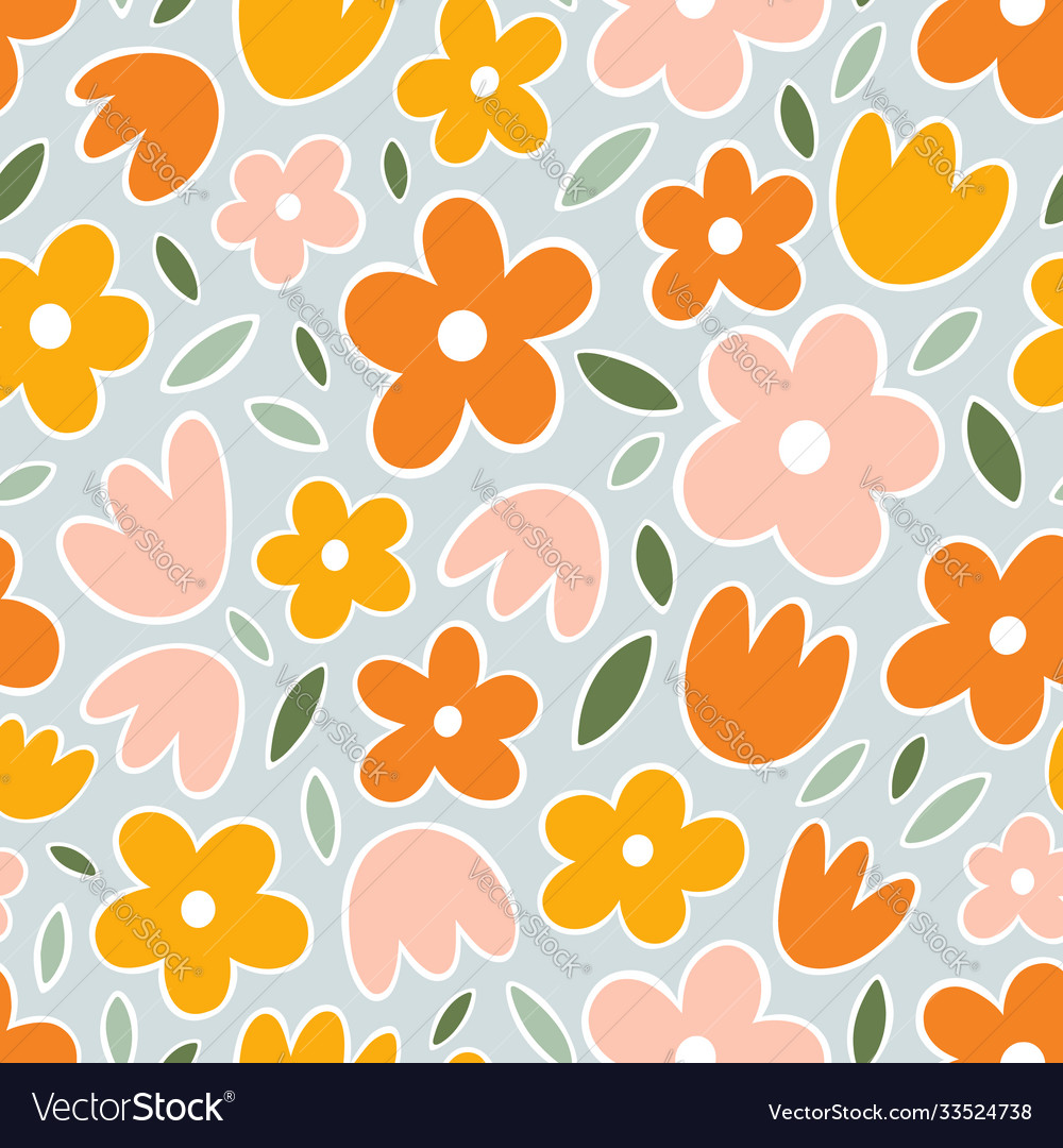 Yellow orange and pink flowers on mint background
