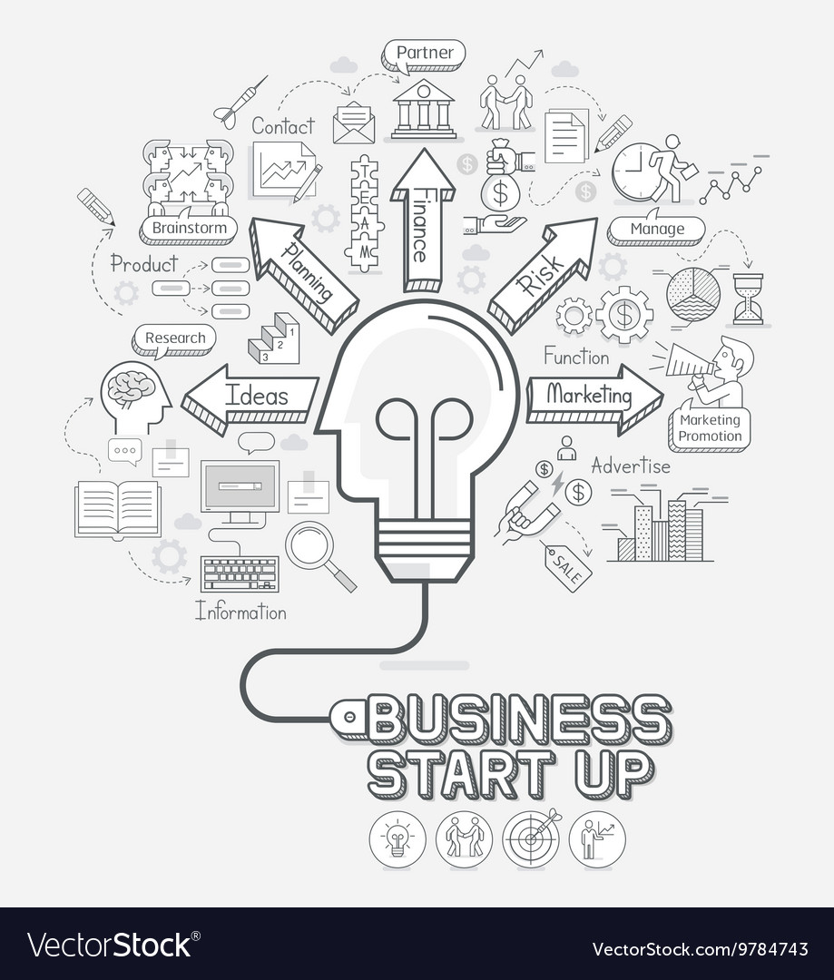 Business start up concept doodles icons set
