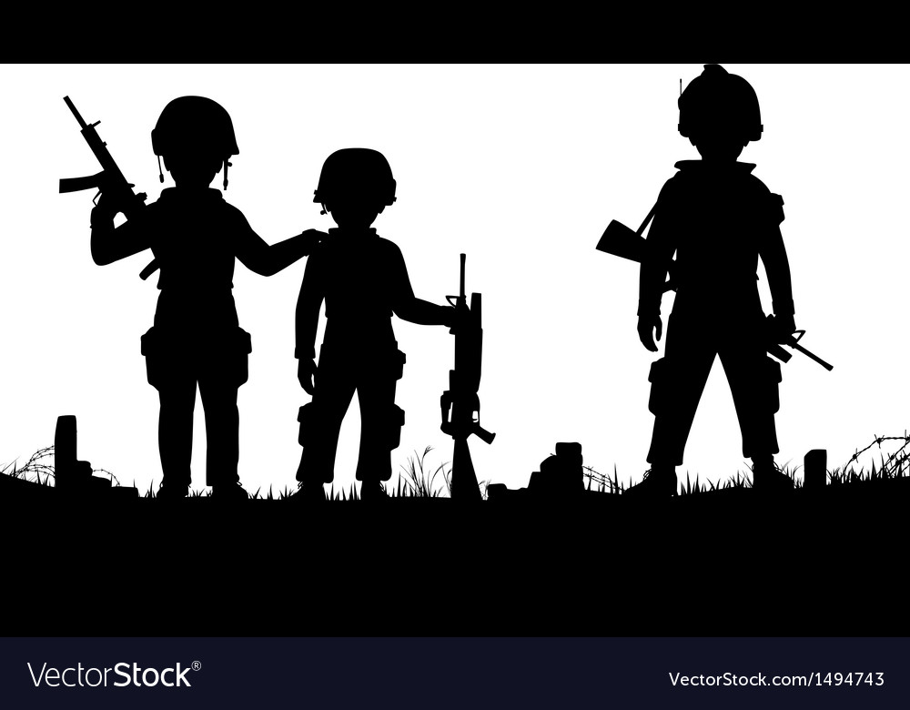 Child soldiers vector image