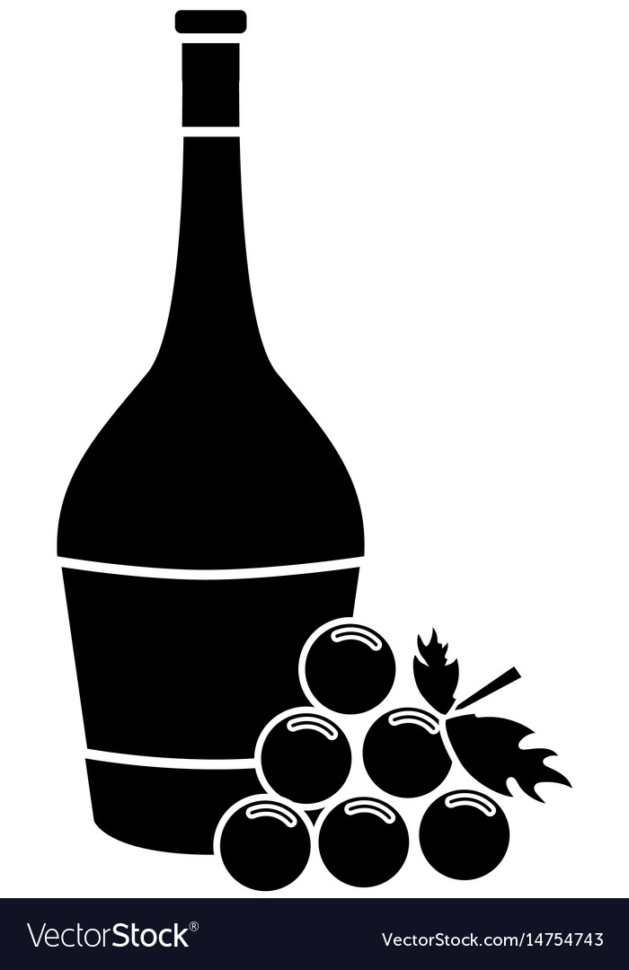 Contour wine bottle with grape fruit vector image