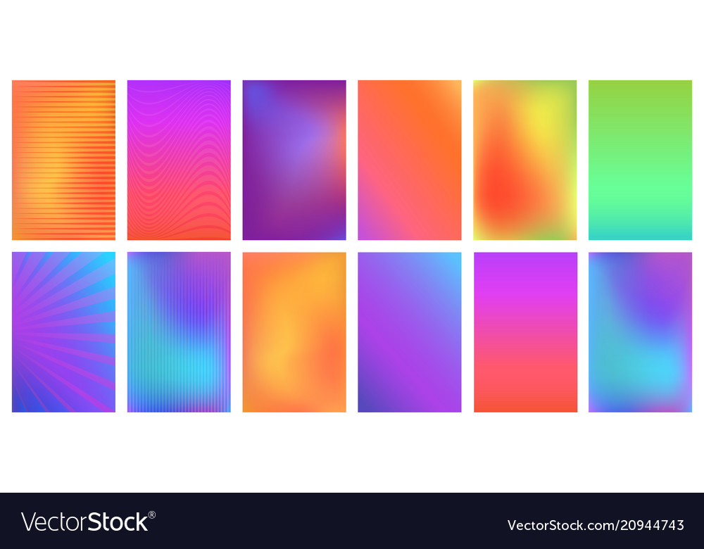Creative bright vivid gradient set for any