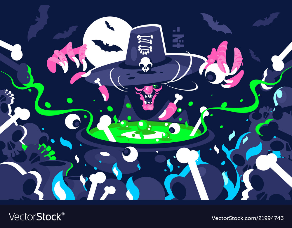 Halloween witch preparing magic potion in cauldron