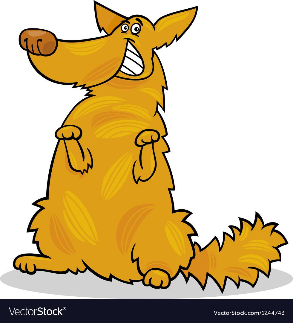 Happy yellow shaggy standing dog vector image