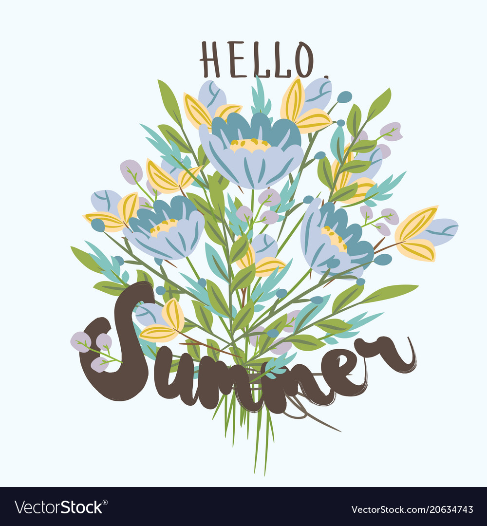 Hello summer hand drawn post card template