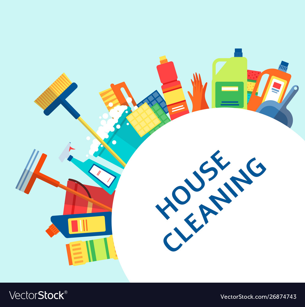 House cleaning banner - colorful housework