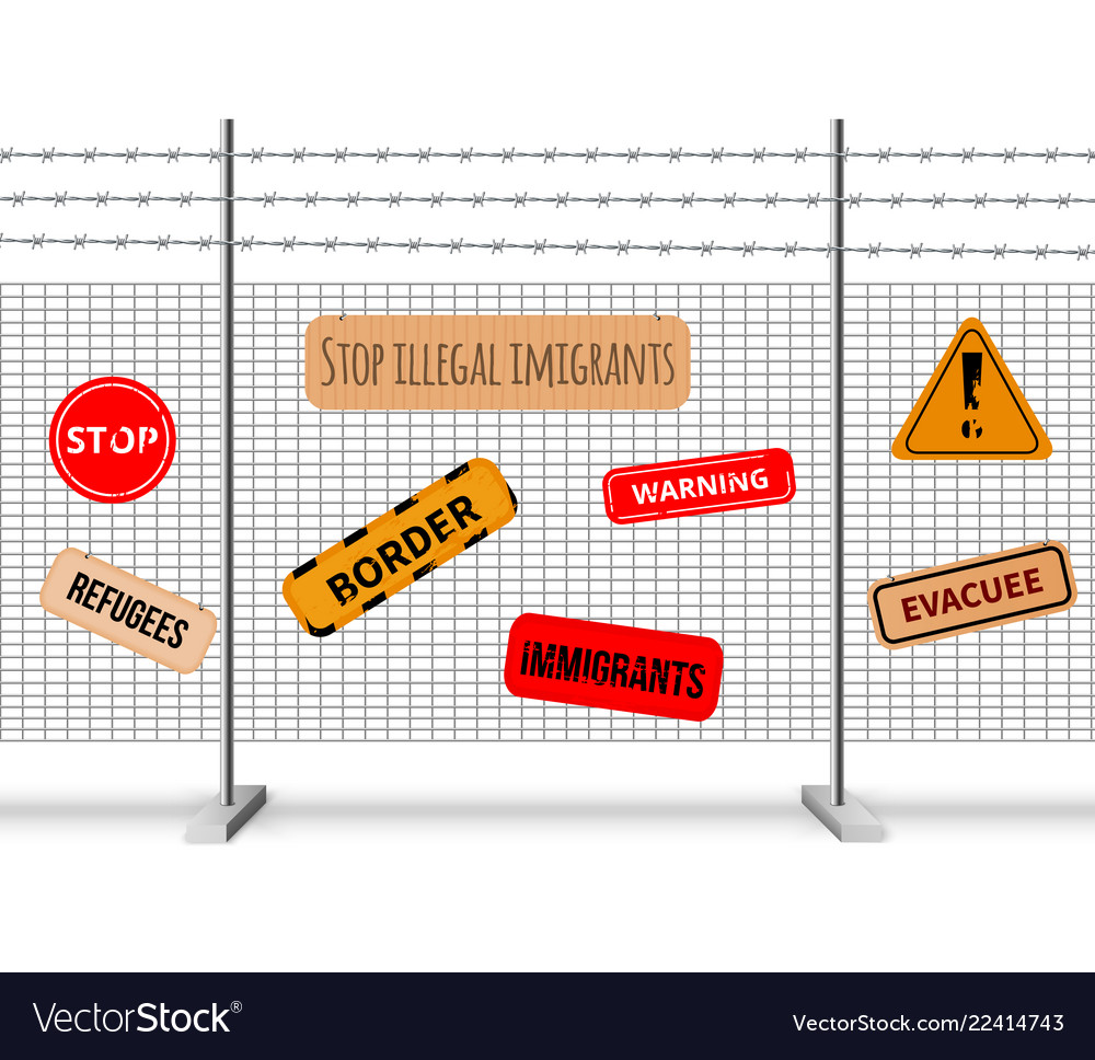 Immigrants fencing barrier realistic composition