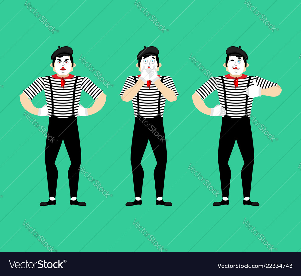Mime set pantomime bewildered and angry mimic