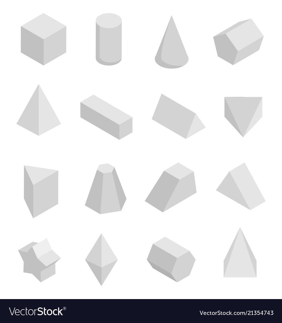 Monochrome prisms set isolated on white backdrop