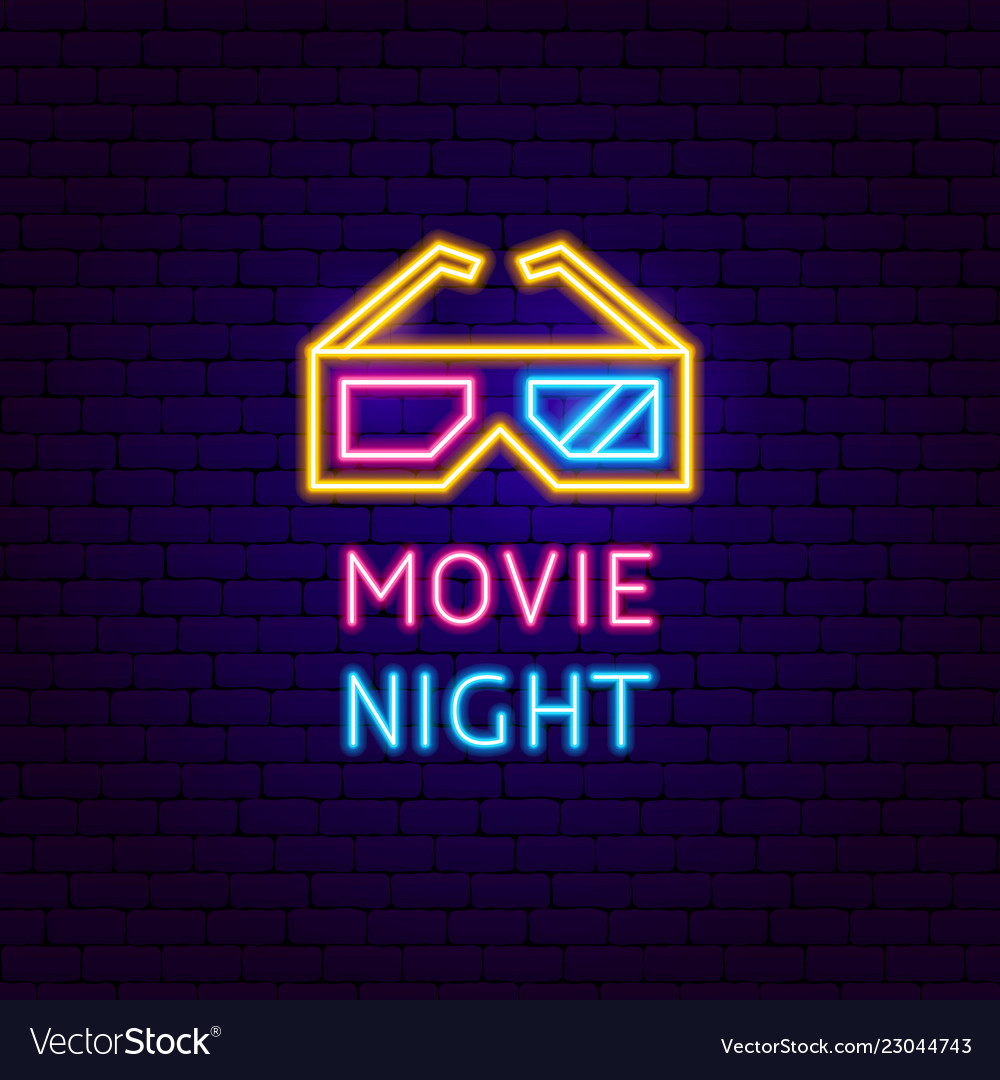 Movie night neon label