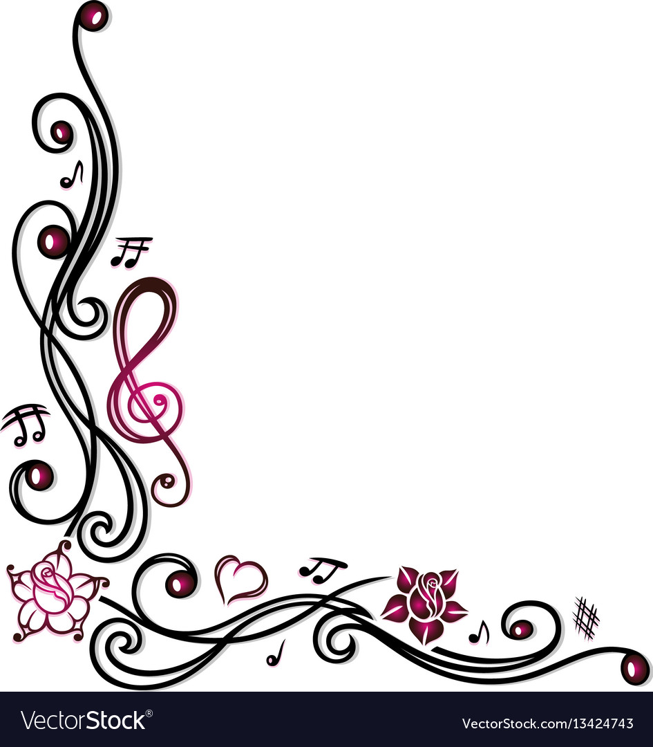 Music notes clef and flowers